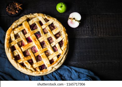 Homemade fruit pie.Top view. style rustic. Selective focus.