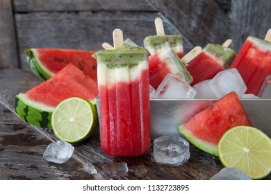 Homemade fruity ice cream popsicles with fresh water melon