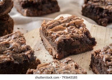 Homemade fudge chocolate brownies