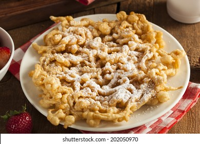 Homemade Funnel Cake with Powdered Sugar at the Fair