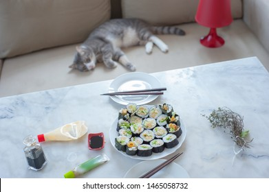 Homemade futo-maki sushi in the foreground and my cat in the background on the sofa