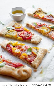 Homemade galette made from heirloom tomatoes