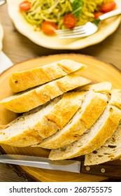 Homemade garlic bread for dinner.