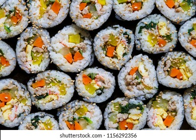 Homemade Gimbap.  Gimbap is Korean style sushi roll.