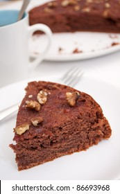 Homemade Gingerbread Cake With Jam and Walnuts on Plat