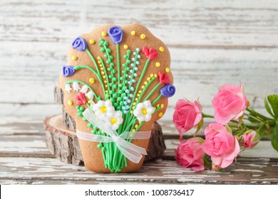 Homemade gingerbread cookies in the shape of flowers.ginger biscuits for March 8.International Women's Day, St. Valentine's Day