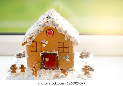 Homemade gingerbread house  with  blurry background - Image