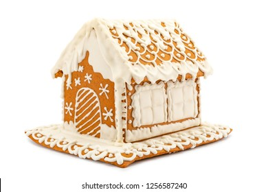 Homemade gingerbread house isolated on a white background