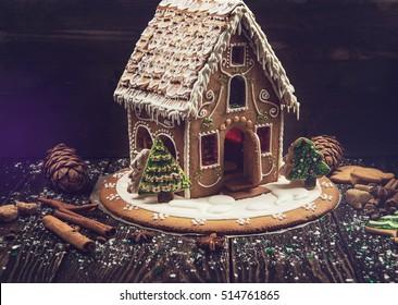 Homemade gingerbread house on dark background, xmas theme