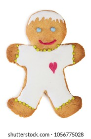 Homemade gingerbread man isolated on white background