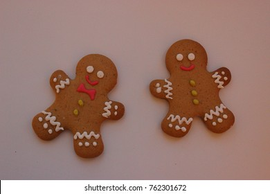 Homemade gingerbread men. Traditional Christmas cookies.