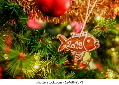 Homemade gingerbread in shape of a fish covered with white icing and letters PF 2019, hanging on cord on Christmas tree, golden yellow chain ornament, red baubles and shiny fairy lights in background
