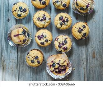 Homemade Gluten free vegan quinoa and brown rice muffins with blueberries