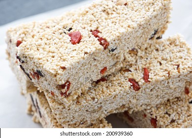 Homemade Goji berry, Cherry Amaranth Cocoa butter Almond granola bars