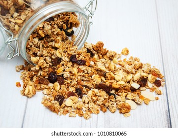 Homemade  granola in jar on a old wooden  table