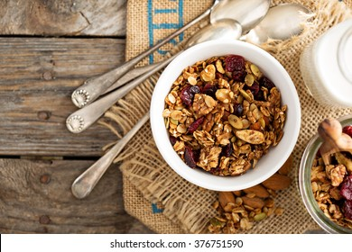 Homemade granola with milk for breakfast top view