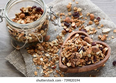 homemade granola in wooden bowl