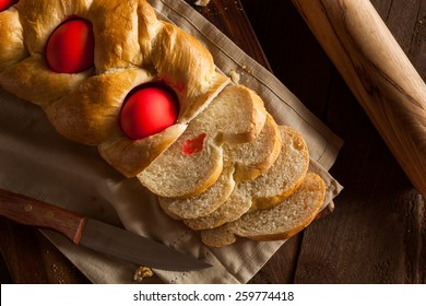 Homemade Greek Easter Bread with Red Eggs