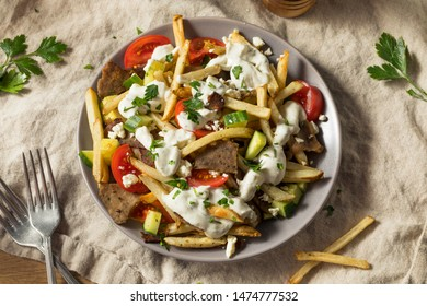 Homemade Greek Gyro Meat French Fries with Tzatziki Sauce