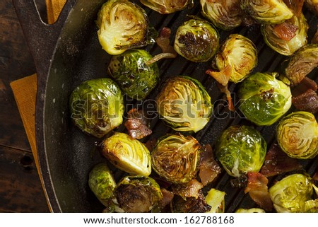 Homemade Grilled Brussel Sprouts with Fresh Bacon