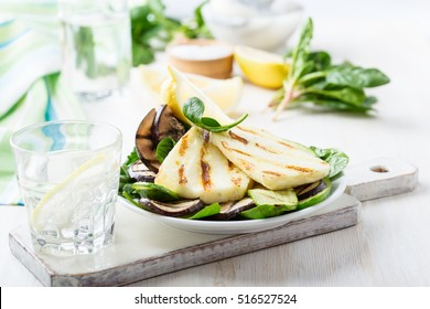 Homemade grilled halloumi salad with eggplant and zucchini, Greek style