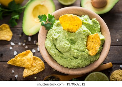 Homemade guacamole dip in the bowl
