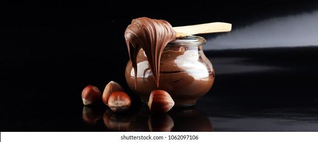 Homemade hazelnut spread in bowl. Hazelnut Nougat cream.