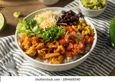 Homemade Healthy Chicken Burrito Bowl with Salsa Corn and Beans
