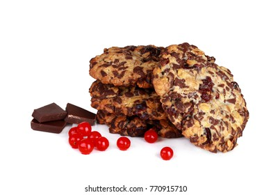 Homemade healthy cookies handmade with eco-friendly ingredients - cranberries and chocolate