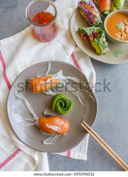 Homemade Healthy Food Fresh Vegetablessmoked Salmonavocado