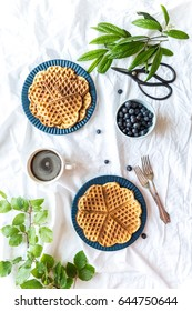 Homemade healthy organic waffles on a white sheet surface breakfast in bed photographed from the top with green plants, blueberries and coffee
