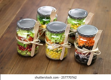 homemade healthy salad in glass jar