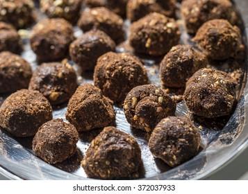 Homemade healthy vegan chocolate truffles