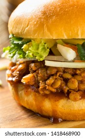 Homemade Healthy Vegan Lentil Barbecue Sandwich with Slaw