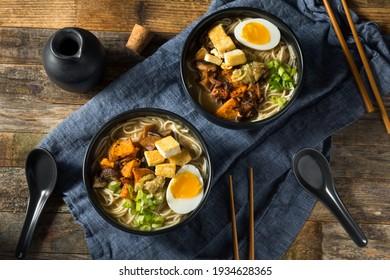 Homemade Healthy Vegan Vegetarian Ramen with Tofu and Egg