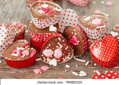 Homemade heart chocolates with colorful sugar sprinkles