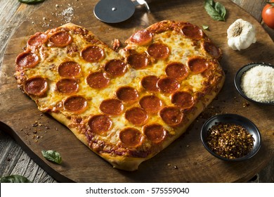 Homemade Heart Shaped Pepperoni Pizza Ready to Eat