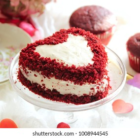 Homemade Heart shaped Red Velvet cake / Valentines day food, selective focus