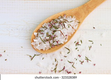 Homemade  herbal bath salt scented, close-up grains, aromatic skin treatment, soft light focus