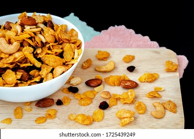 Homemade Honey caramel cornflakes in black background