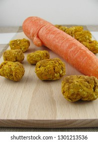 Homemade horse treats with carrot and rolled oats