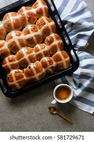 Homemade Hot Cross Buns and coffee Ready for Easter morning breakfast
