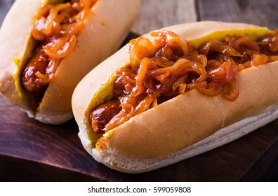 Homemade hot dogs with the onion sauce on top, New York street cart food