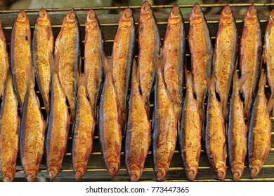 homemade hot Smoked fish on grill