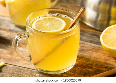 Homemade Hot Toddy Cocktail with Whiskey and Lemon