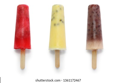homemade ice pops, strawberry, passion fruit, adzuki beans