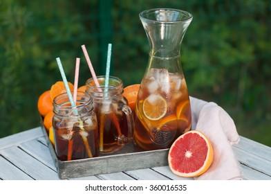 homemade icetea with citrus