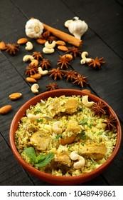 Homemade Indian traditional mutton biryani ,biriyani,pilaff.