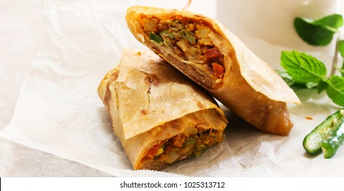 Homemade Indian Veg Wrap / Kathi Roll, selective focus