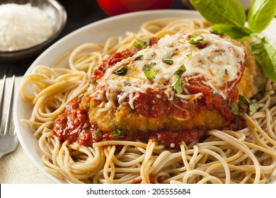 Homemade Italian Chicken Parmesan with Cheese and Sauce